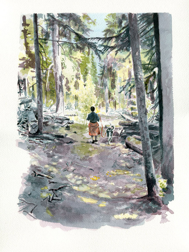 In the Woods • A watercolor illustration based off of a photograph. Copyright © 2012 Ian Castruita • All Rights Reserved