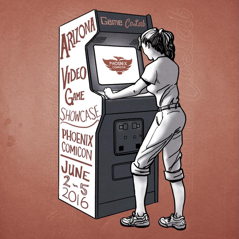 Arizona Video Game Showcase Poster and Tshirt Illustration • Copyright © 2016 Ian A. Castruita